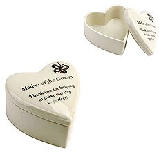 "Amore Porcelain Heart Trinket Box ""Mother of the Groom"""