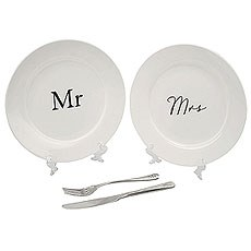 Amore Mr & Mrs Wedding gift set with cutlery