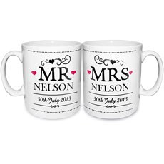 Mr & Mrs Personalized Ceramic Mug Set