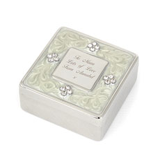 Personalized Square Diamante Trinket Box