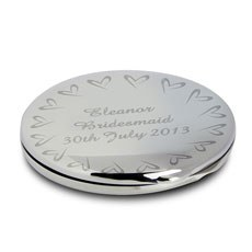 Personalized Compact Mirror With Small Heart Design