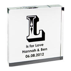 Personalized Black Initial Glass Keepsake Block