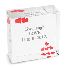 Personalized Red Hearts Glass Keepsake Block