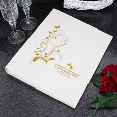 Personalized Gold Swirl Butterfly Traditional Photo Album