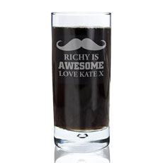 Personalized Moustache Hi Ball Glass