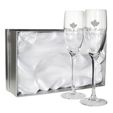 Pair of 'On Our Wedding Day' Flutes