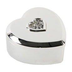Silverplated Heart Shaped Trinket Box With Stones In Center
