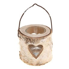 Small Heart Bark Tealight Holder