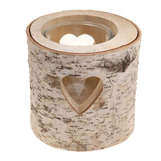 Large Heart Bark Tealight Holder