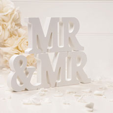 Wooden Mr & Mr Letters Off White