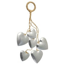 Silver Rustic Hanging Hearts Decoration