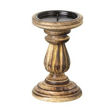 Natural Wood Carved Rustic Pillar Candle Holder