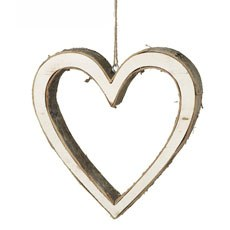 Small Wooden Bark Hanging Heart Decoration
