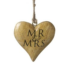 Mr and Mrs Wooden Hanging Heart Decoration