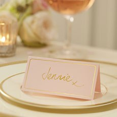 Pastel Pink Place Card With Fold