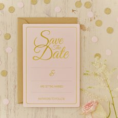 Pastel Pink Save the Date Cards