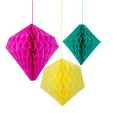 Bright Geometric Hanging Honeycomb - Set of 3
