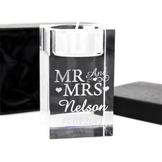 Personalized Mr & Mrs Tea Light Candle Holder