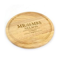 Personalized Mr & Mrs Round Chopping Board