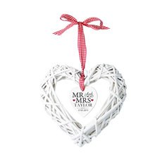 Personalized Mr & Mrs Wicker Heart Decoration