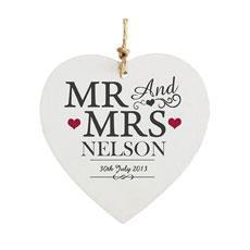 Personalized Mr & Mrs Wooden Heart Decoration