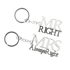 Mr Right & Mrs Always Right' Couples Keyrings Set