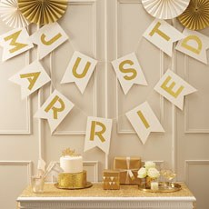 Ivory And Gold 'Just Married' Bunting