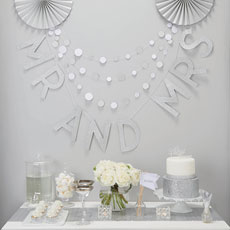 'Mr And Mrs' Silver Glitter Wedding Bunting