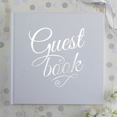 White And Silver Wedding Guest Book