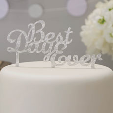Silver Acrylic 'Best Day Ever' Cake Topper