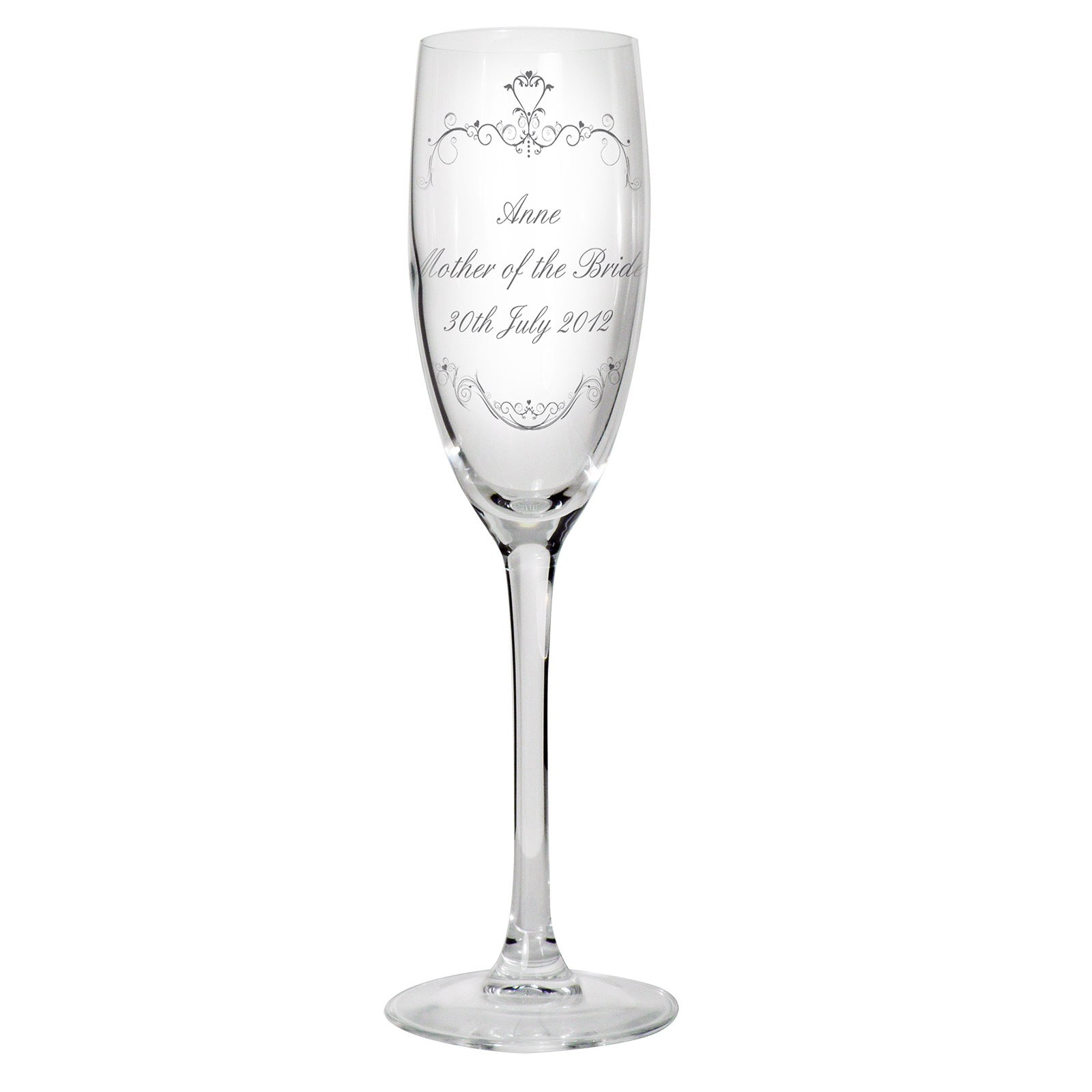 Ornate Swirl Glass Flute Personalized