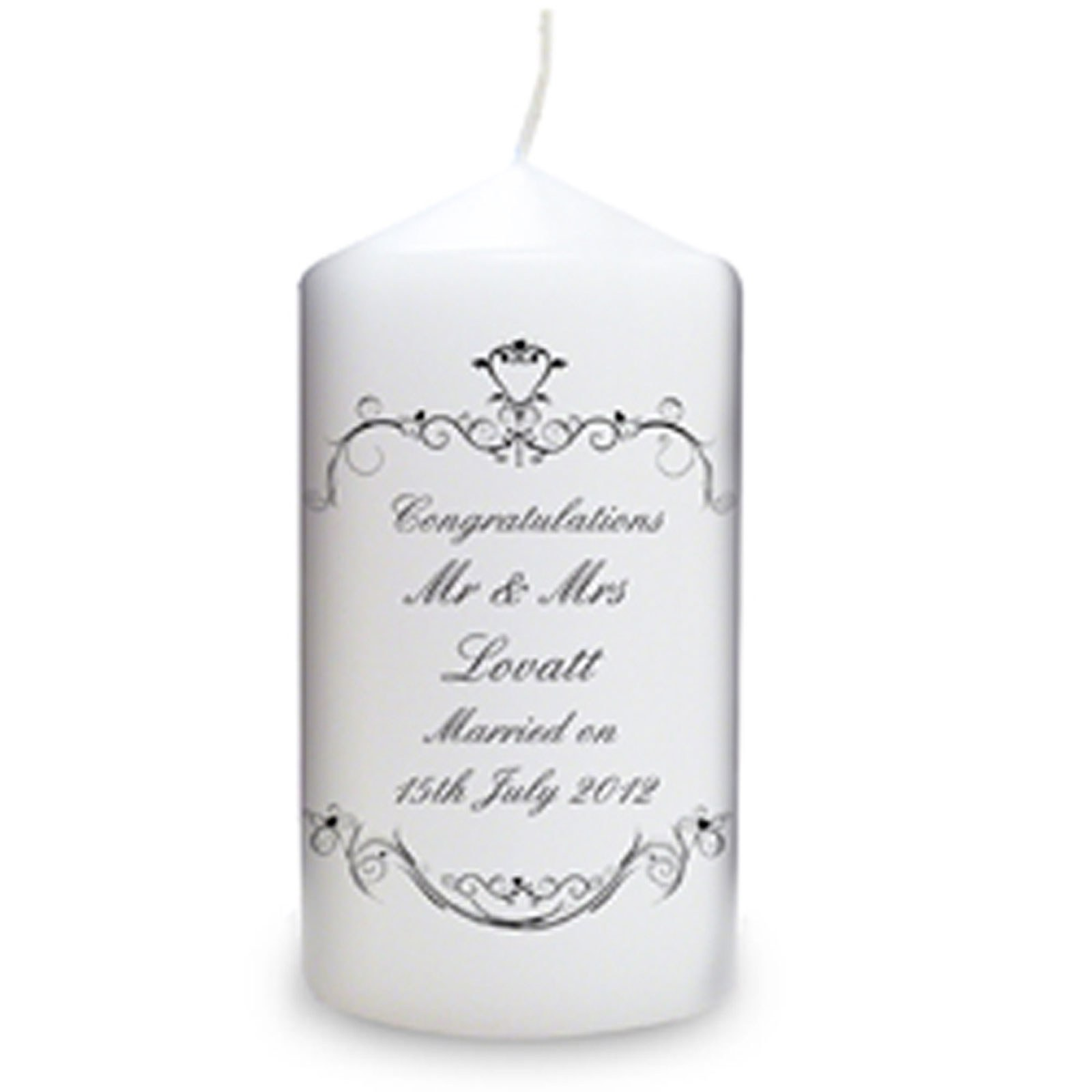 Personalized Ornate Swirl Candle