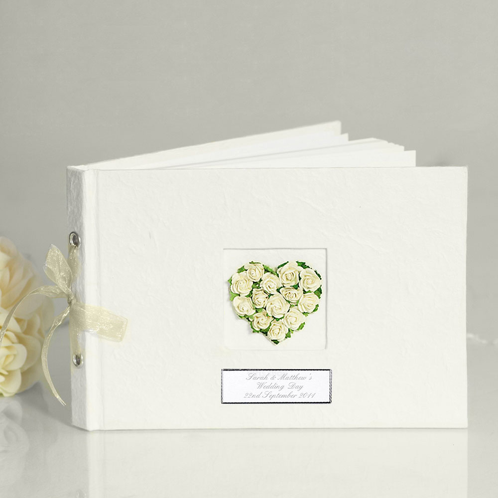 Rosebud Heart Wedding Guest Book
