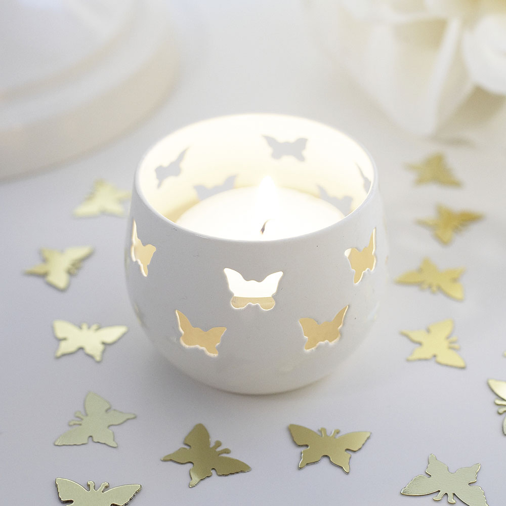 Ivory Butterfly Detail Metal Tea Light Candle Holder