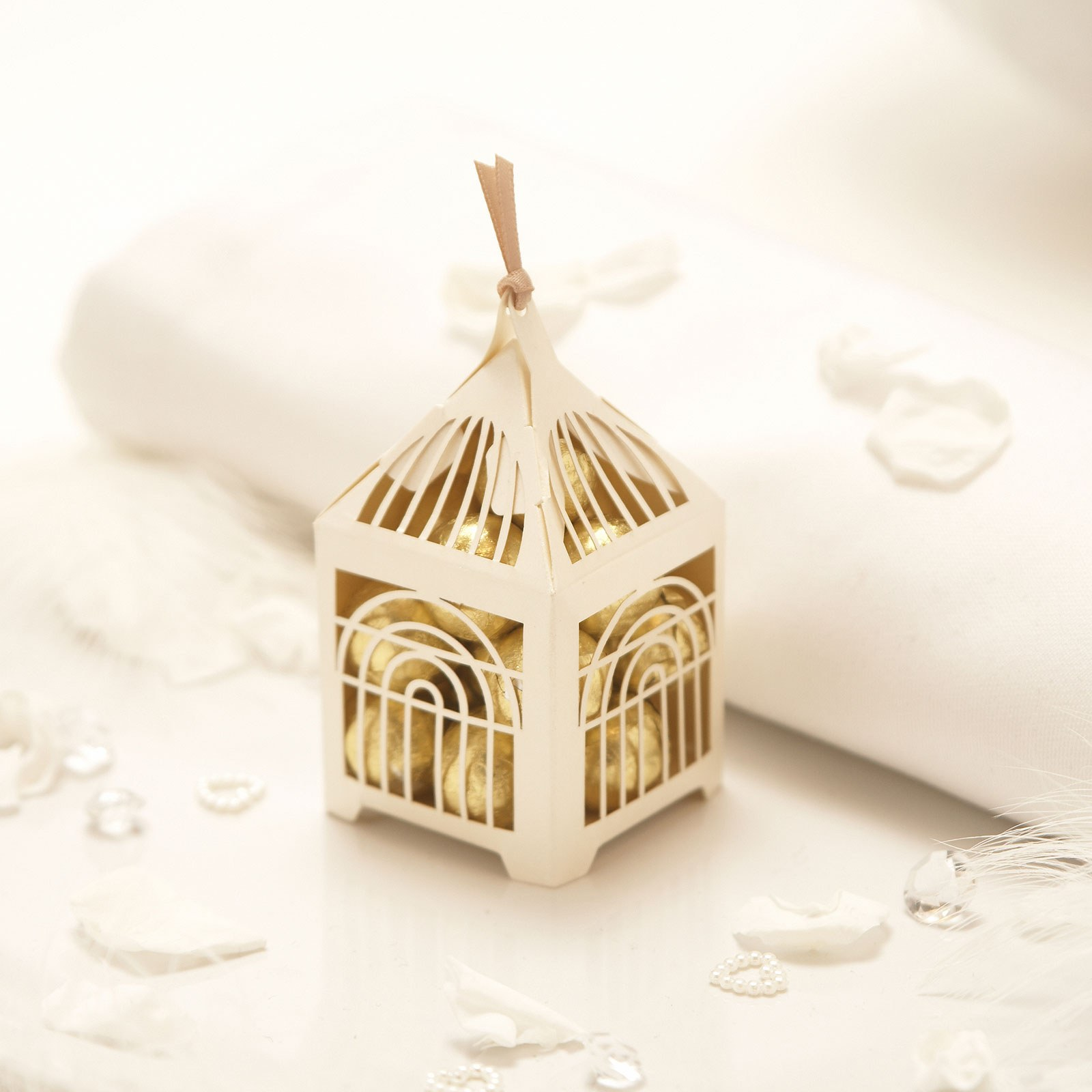 Pearl Lasercut Birdcage Favor Boxes Pack
