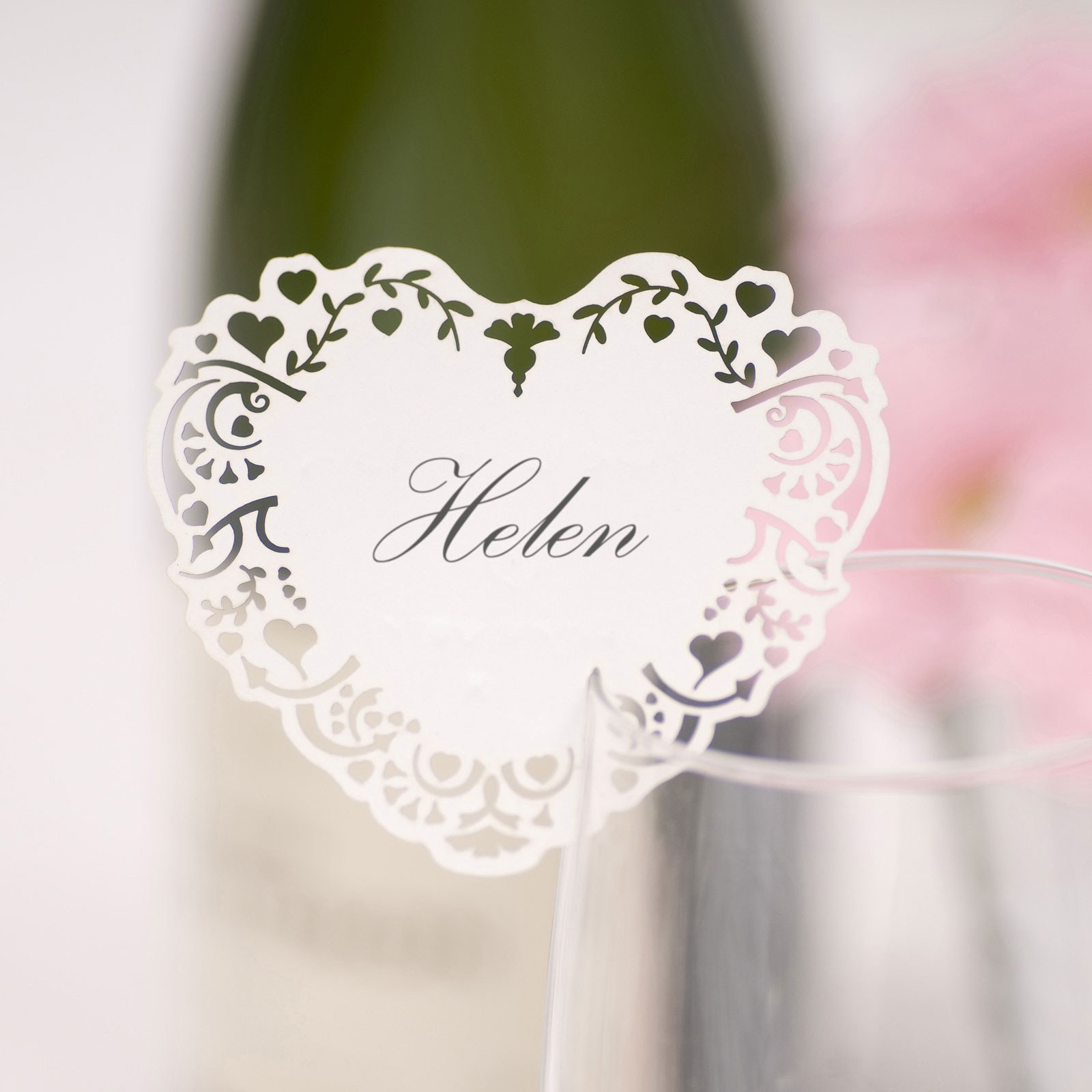 White Vintage Romance Laser Cut Glass Placecard Pack