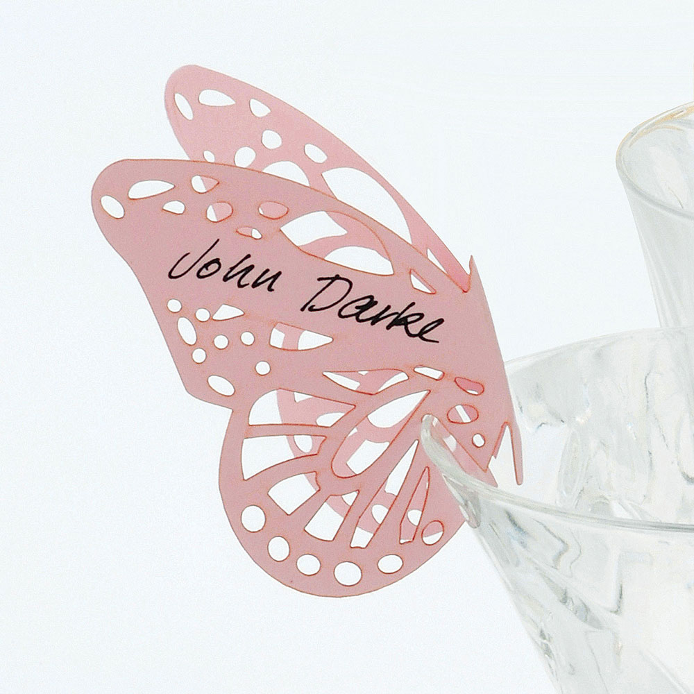 Delicate Lasercut Butterfly Wedding Place Card For Glasses Pack