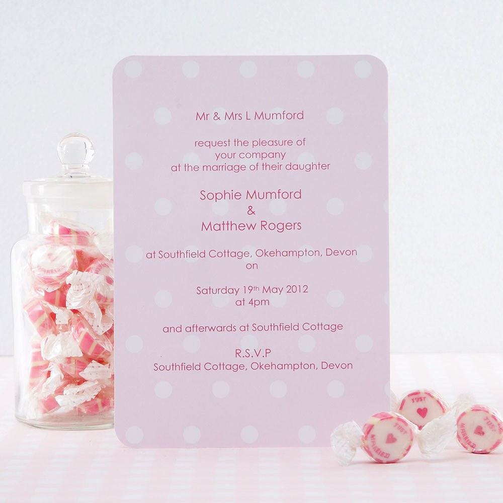 Shabby Chic Pink/White Large Invite Card Pack