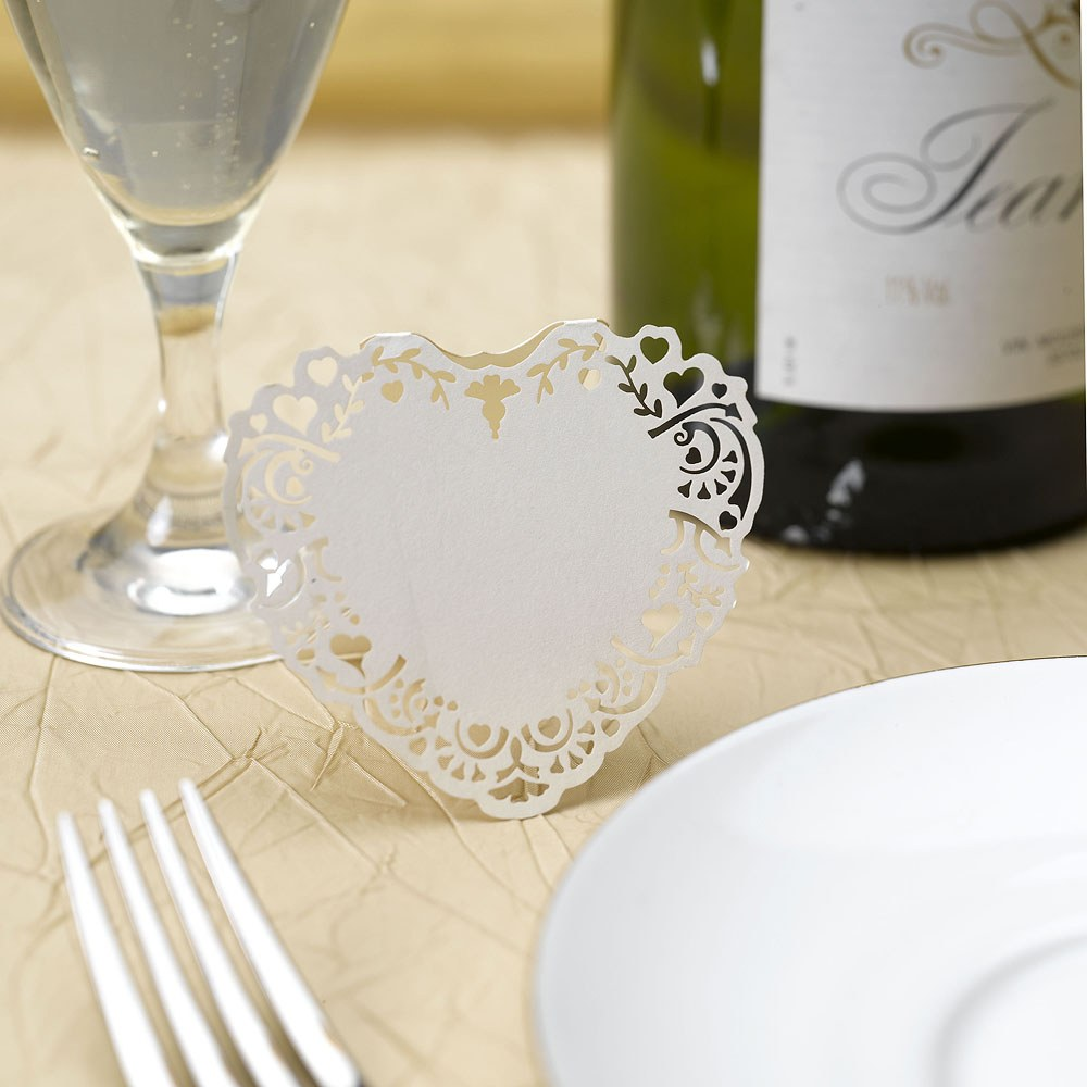 White Vintage Romance Laser Cut Placecard Pack - 10 Pack