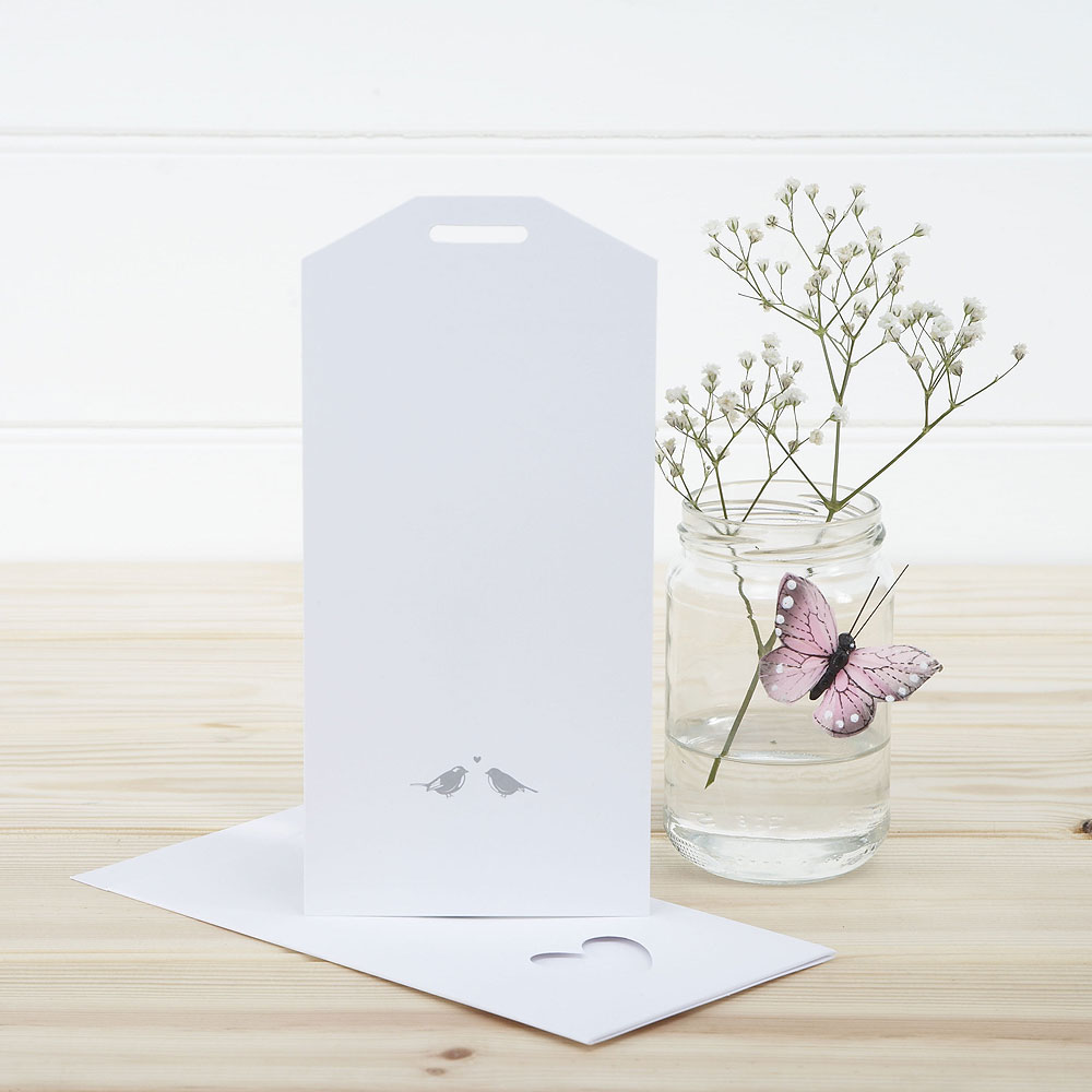 White and Silver Eco Chic Birds Design Large Insert Tag - 10 Pack