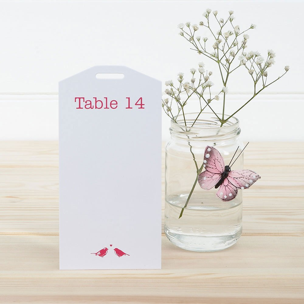 White and Fuchsia Eco Chic Birds Design Table Plan Tags 1-16
