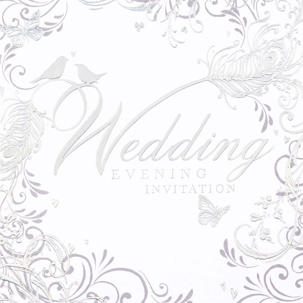 Enchanting Feather Design Wedding Evening Invitation Cards - 6 Pack