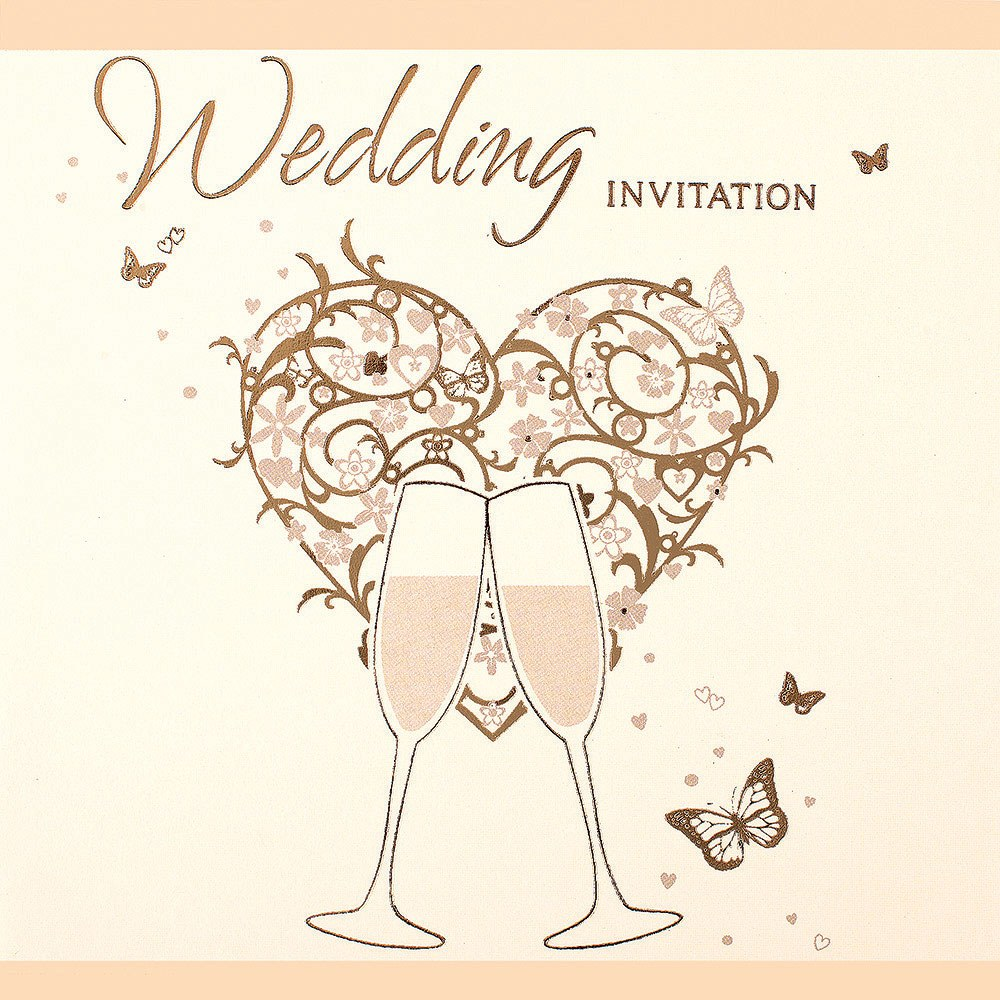 Gold Heart Wedding Invitation Cards - 6 Pack