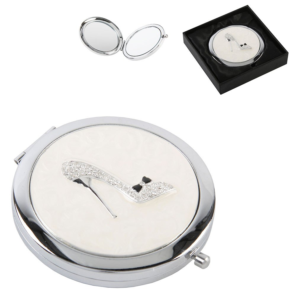 Sophia Silverplated Compact Mirror Clear Crystal Shoe
