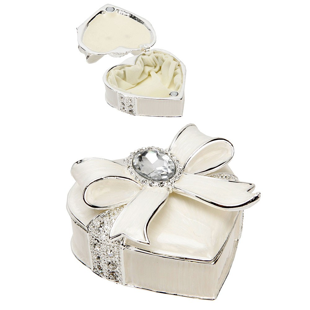 Silverplated & Epoxy Heart Trinket Box with Bow & Crystals