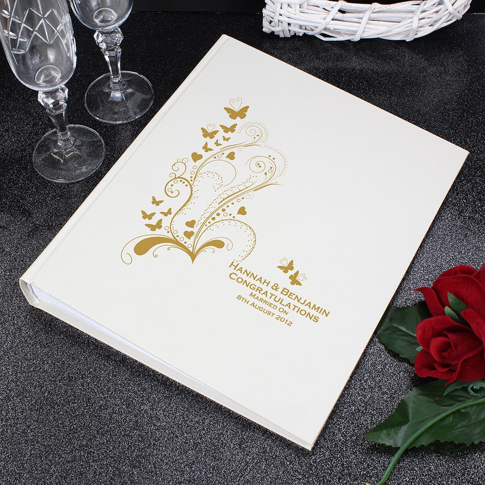 Gold & Ivory Traditional Photo Album with Butterfly Design   Personalised
