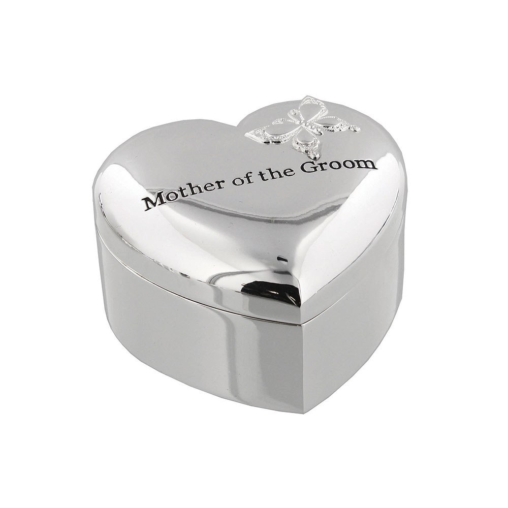 Amore Silverplated Heart Trinket Box   'Mother of The Groom'