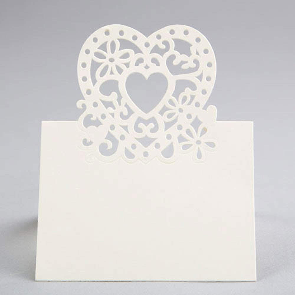 Double Heart Place  Card   Pack Of 10pcs