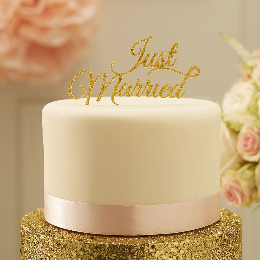 Just Married Cake Topper Gold