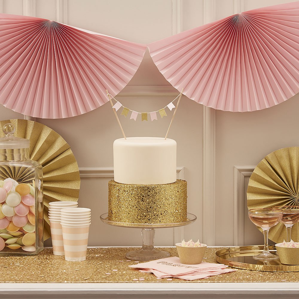 Pastel Pink and Gold Cake Bunting